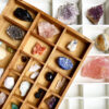 Wood case and gemstones