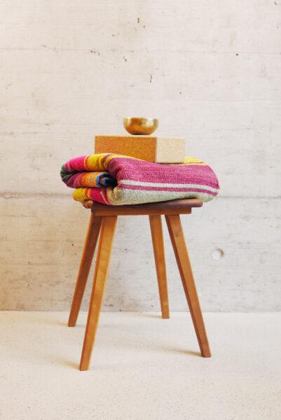 Stool, blanket, block and bowl
