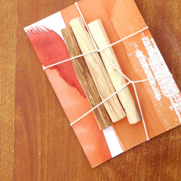 Palo Santo hand painted red card